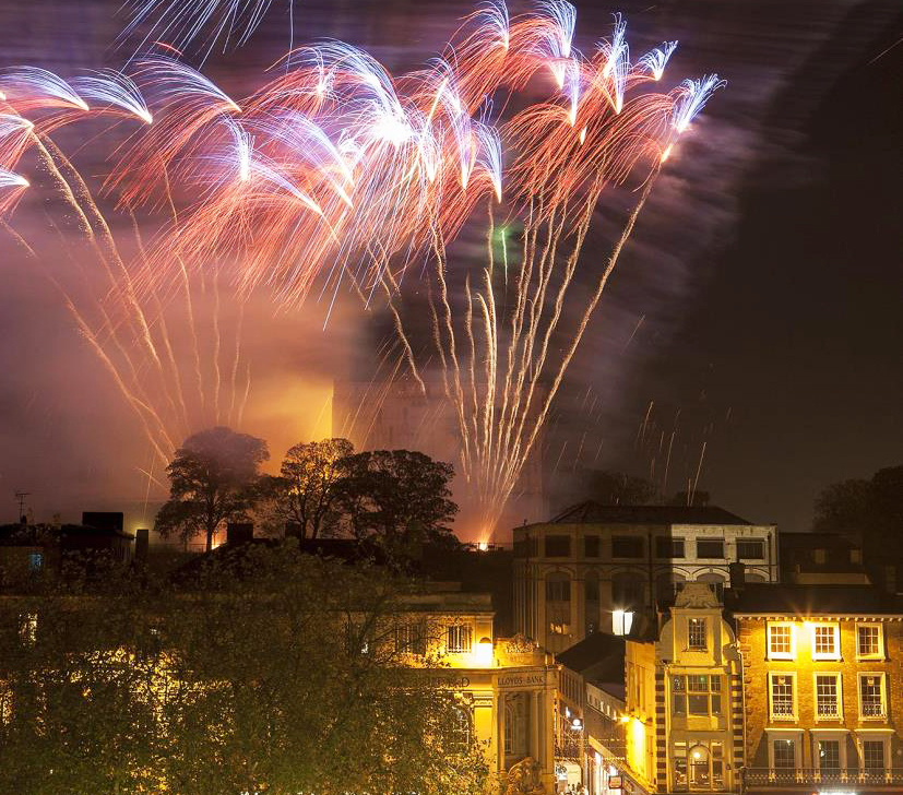 Firework display above Norwich Castle